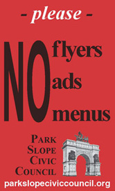 no flyers no ads no menus park slope civic council