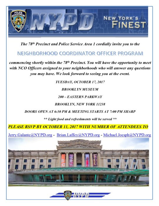 78th Precinct and PSA1 Presents:  Neighborhood Coordinator Officer Program